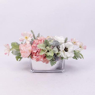 Pink Rose Hydrangea Peony Cosmos and White Anemone Flower Arrangement - G Home Collection