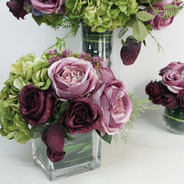 Rose and Green Hydrangea Flower Arrangement - G Home Collection