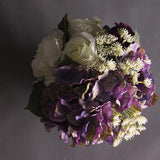 Rose White Rose and Purple Hydrangea Flower Arrangement - G Home Collection