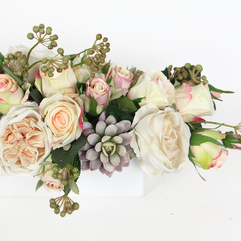 White and Pink Rose with Greenery Flower Arrangement - G Home Collection