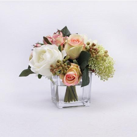 White and Pink Rose with Greenery Flower Arrangement with Faux Water - G Home Collection