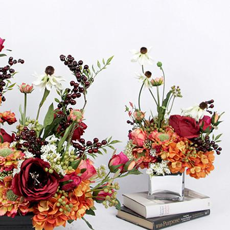 Orange Red Secret Garden Flower Arrangement - G Home Collection