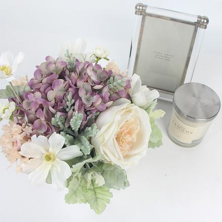 White Rose Cosmos and Purple Mixed Flower Arrangement - G Home Collection