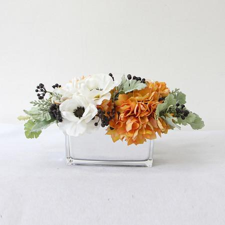 Orange Hydrangea and White Anemone Flower Arrangement - G Home Collection