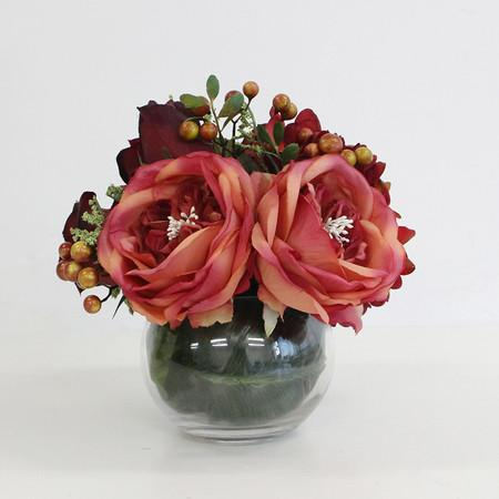 Red Hydrangea and Rose Flower Arrangement - G Home Collection