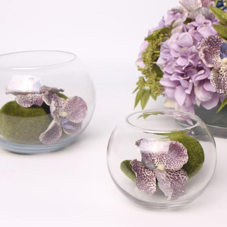 Purple Butterfly Valley in Glass Vase (Set of 2) - G Home Collection