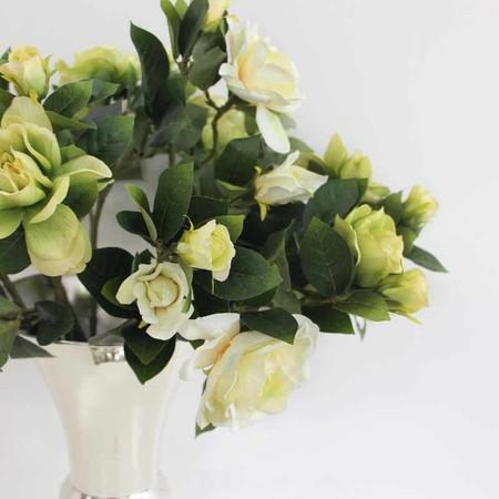 "Silk 5 Peony Bouquet in Cream White 10"" Tall"