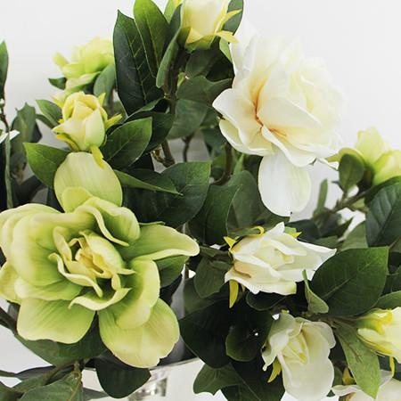 "Silk 3 Gardenia Bloom Stem in Green and White 25"" Tall - G Home Collection"