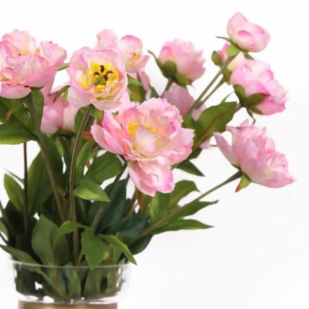 "Silk 5 Peony Bouquet in Light Pink 10"" Tall"