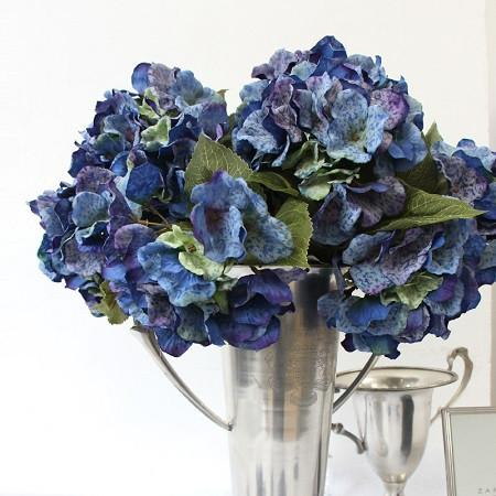 "Silk 5 Hydrangea Bloom Bush in Blue 21"" Tall - G Home Collection"