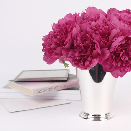 "Silk 5 Peony Bouquet in Dark Pink 10"" Tall"