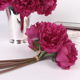 Silk 5 Peony Bouquet in Dark Pink 10