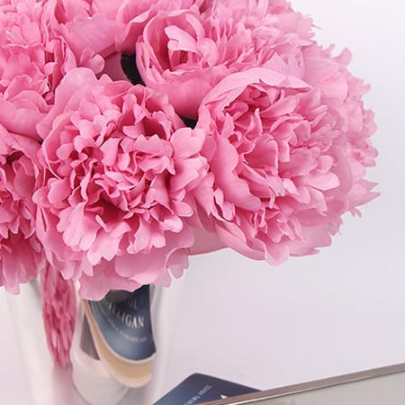 "Silk 5 Peony Bouquet in Pink 10"" Tall - G Home Collection"