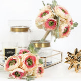 Silk 6 Ranunculus Asiaticus Buttercup Bouquet in Pink White 11
