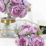 Silk 6 Ranunculus Asiaticus Buttercup Bouquet in Purple 11
