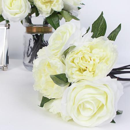 "Silk 7 Rose And Peony Bouquet in White 16"" Tall - G Home Collection"