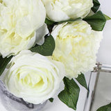Silk 7 Rose And Peony Bouquet in White 16