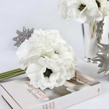Silk 9 Anemone Flower Bouquet In White 10 Quot Tall G Home