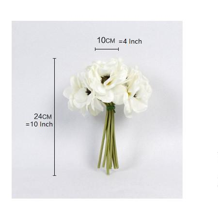 "Silk Anemone Flower Bouquet in White 10"" Tall - G Home Collection"