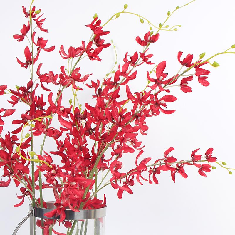 "Silk Asian Style Oncidium Orchid Stem in Red 43"" Tall - G Home Collection"