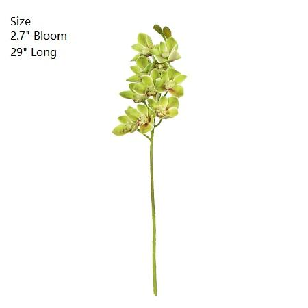 "Boat Cymbidium Orchid Stem in Green and Yellow 29"" Tall - G Home Collection"