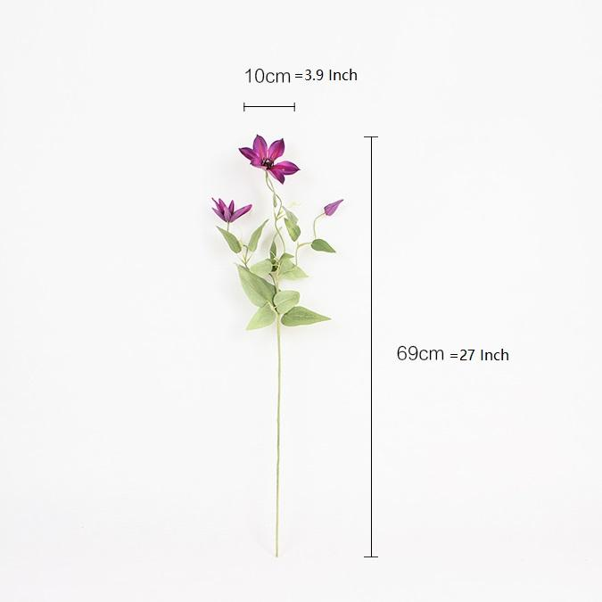 "Silk Clematis Stem in Rose Purple 27"" Tall - G Home Collection"