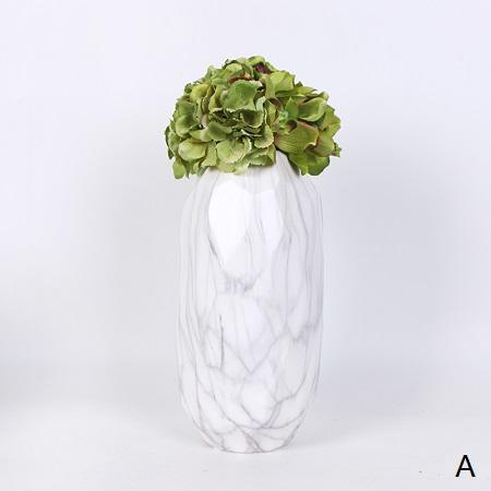 Green Cymbidium Orchid Hydrangea in Marble Pattern Vase Arrangement - G Home Collection