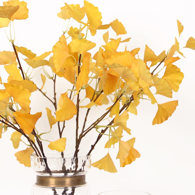 "Silk Yellow Ginkgo Stem 28"" Tall - G Home Collection"