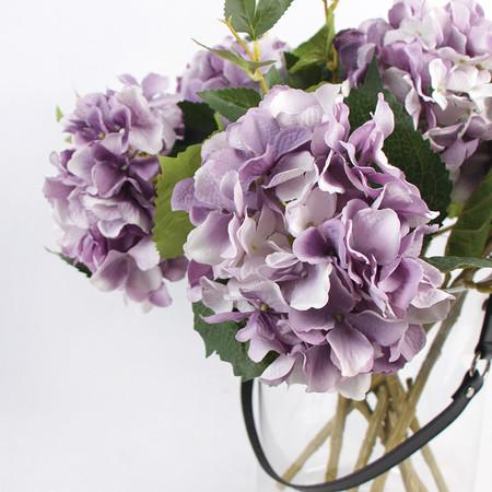"Silk Hydrangea Stem in Light Purple 18"" Tall - G Home Collection"