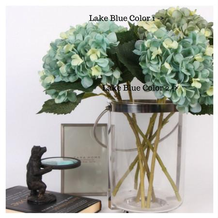 "Silk Hydrangea Stem in Lake Blue 18"" Tall - G Home Collection"