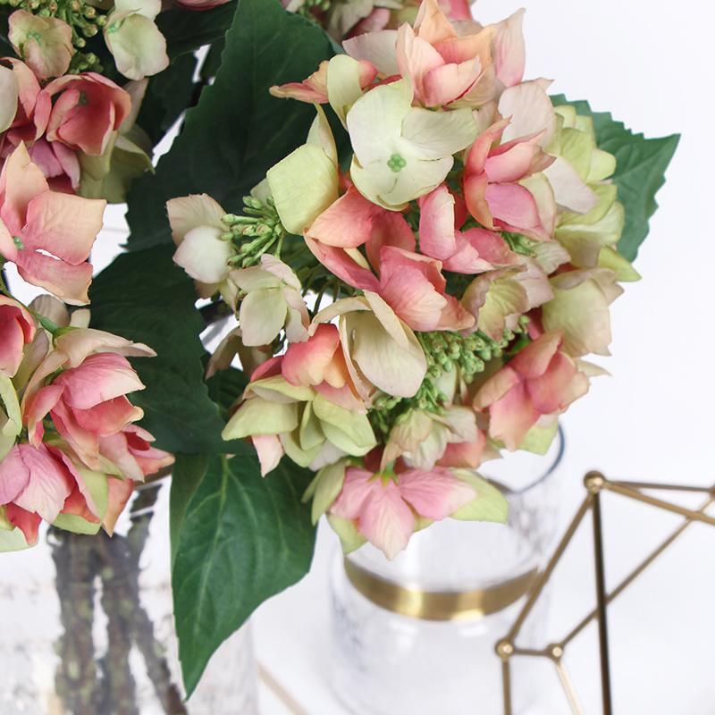 "Silk Hydrangea with Seeds Stem in Green Pink 19"" Tall - G Home Collection"