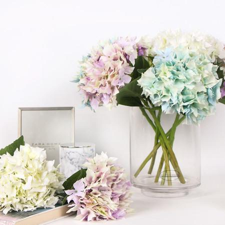 "Silk Lacecap Hydrangea Short Stem in Green Blue and Pink Purple and White 13"" Tall - G Home Collection"