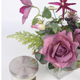 Purple Rose and Various Plants Bouquet in Glass Vase Arrangement - G Home Collection