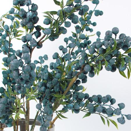 "Artificial Multi Berry Stem in Blue 35"" Tall"