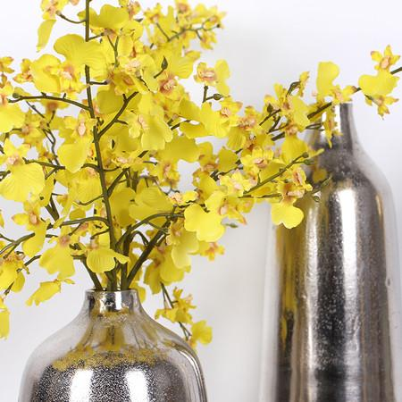 "Silk Oncidium Orchid Stem in Yellow 28"" Tall (Set of 2)"