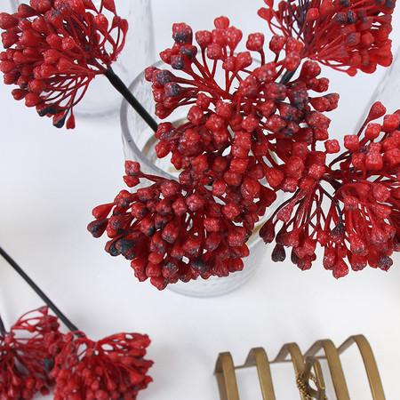 "Artificial Sugar Pear Drop Flower Stem in Black and Red 4"" Tall (Set of 5) - G Home Collection"