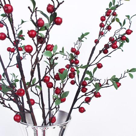 "Artificial Pomegranate Fruit Stem in Red 41"" Tall - G Home Collection"