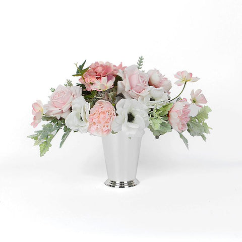 Pink Rose Hydrangea Peony Cosmos and White Anemone Flower Arrangement Tall