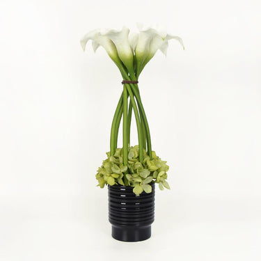 White Lily and Green Hydrangea Flower Arrangement Tall - G Home Collection