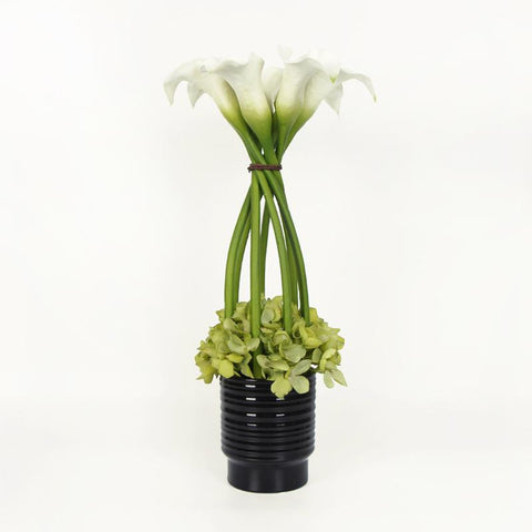 White Lily and Green Hydrangea Flower Arrangement Tall