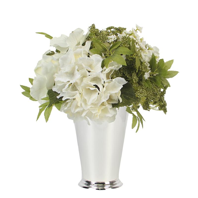 White Green Hydrangea And Lace Flower Arrangement G Home Collection