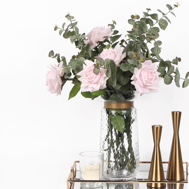 Real Touch Rose Eucalyptus in Glass Vase Set - G Home Collection
