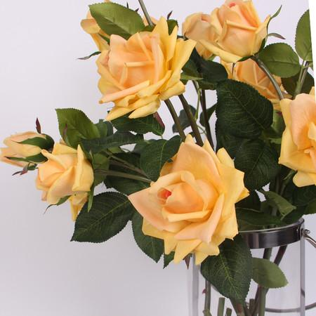 "Real Touch 3 Rose Bloom Stem in  Champagne Yellow 33"" Tall"