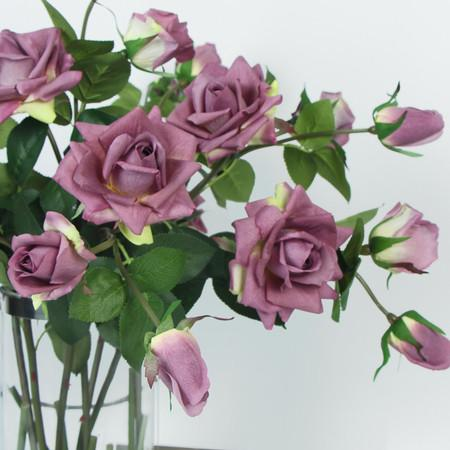 "Real Touch 3 Rose Bloom Stem in Purple 33"" Tall"