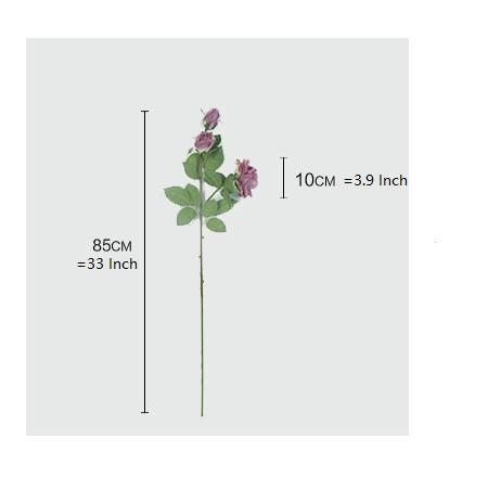 "Real Touch 3 Rose Bloom Stem in Purple 33"" Tall - G Home Collection"
