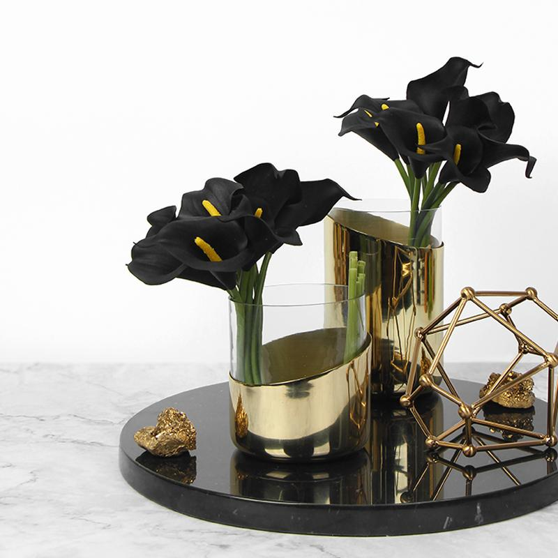 "Real Touch 9 Calla Lily Bouquet in Black 13"" Tall - G Home Collection"