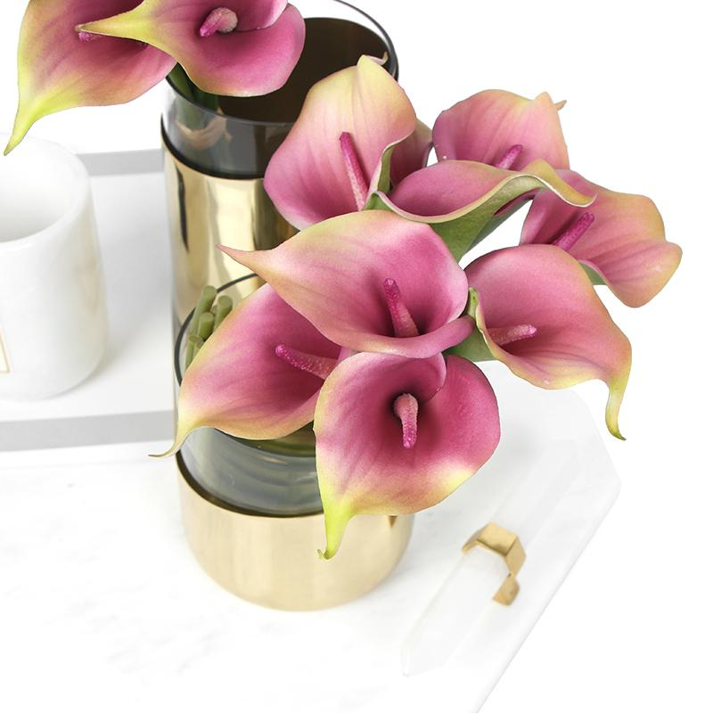 "Real Touch 9 Calla Lily Bouquet in Black 13"" Tall"