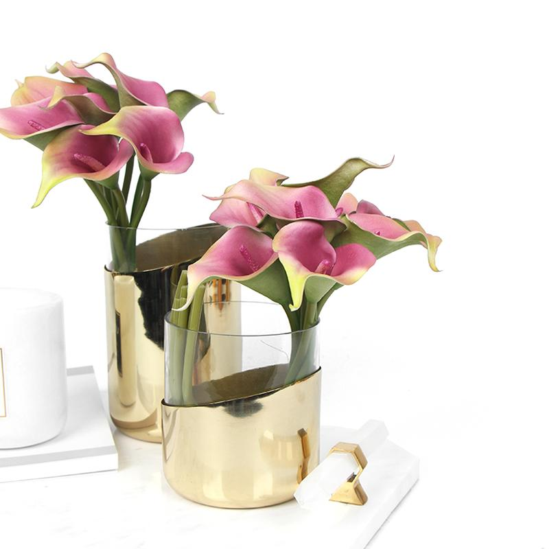 "Real Touch 9 Calla Lily Bouquet in Pink 13"" Tall - G Home Collection"