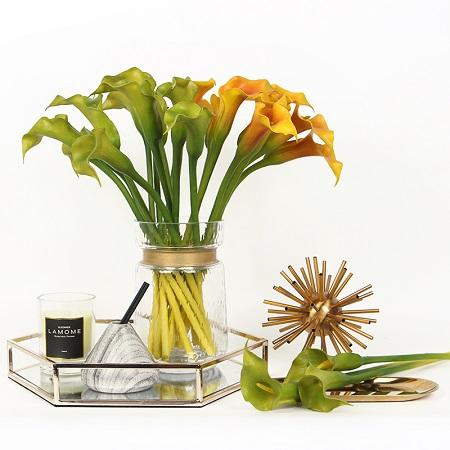 "Real Touch Calla Lily in Green and Yellow 16"" Tall - G Home Collection"