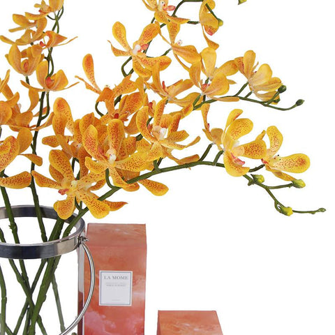 "Real Touch Orchid Stem in Orange 35"" Tall"